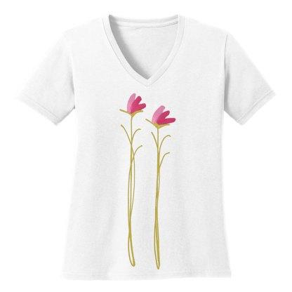 V-Neck-Tee-white-pink-floral