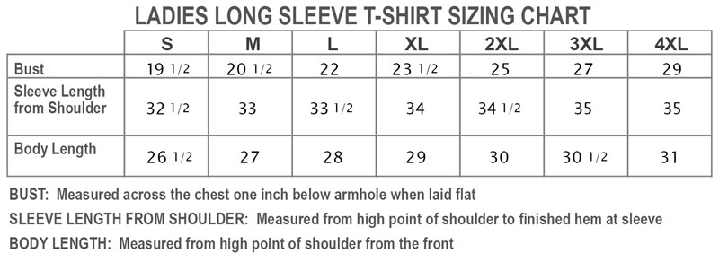 Ladies Long Sleeve T-Shirt Sizing Chart