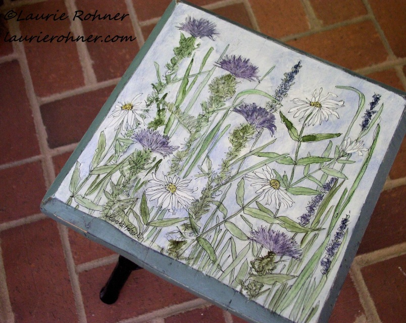 Hand Painted Furniture Custom Accent Table With Botanical
