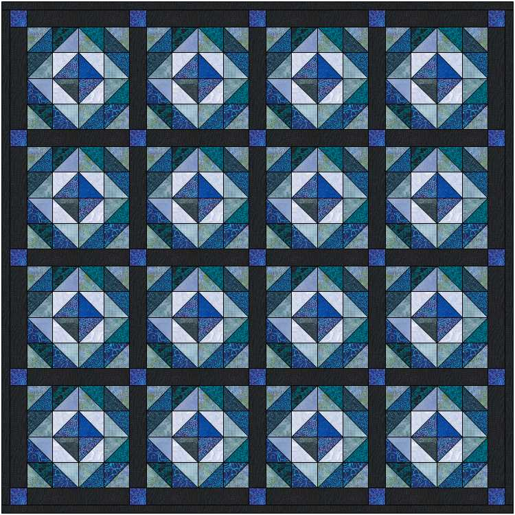 image of blue black scrap quilt comprised entirely of triangles.