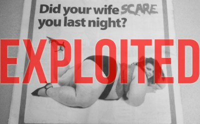 """the ad as described in this post, with """"Exploited"""" covering the woman in big red letters"""