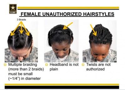 three unauthorized hairstyles
