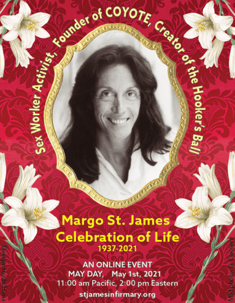 announcement of a May 1, 2021 memorial for Margo St. James