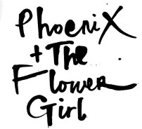 black white design illustration logo words phoenix flower girl