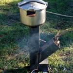 rocket stove chargement incliné