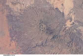 Volcán Emi Koussi desde satélite. Foto: NASA's Marshall space flight center