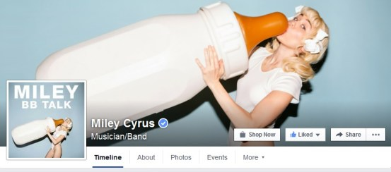 mylie cyrus facebook fan page