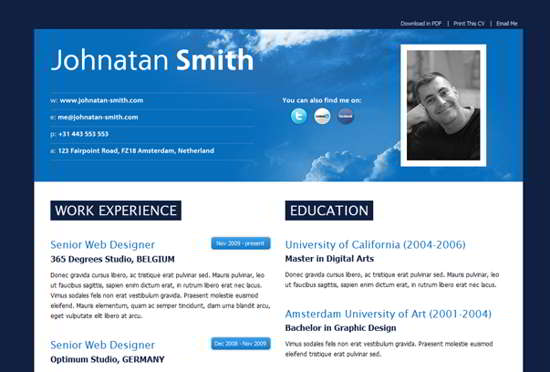 Free Premium Wordpress Resume  Cv Themes