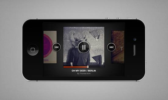 iPhone Music Player PSD file for free download