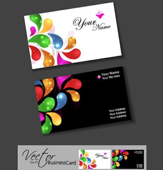 Vivid Colors Business Card Templates Set for free download