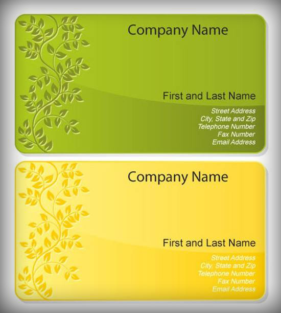 Stamped Floral Business Card Template Set for free download