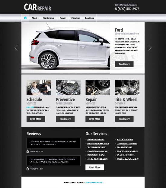 Free Website Template for Car Business