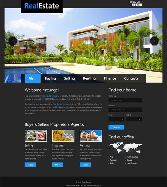 Free Website Template for Real Estate