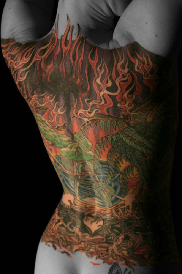 The painted lady Full Back Tattoo Designs