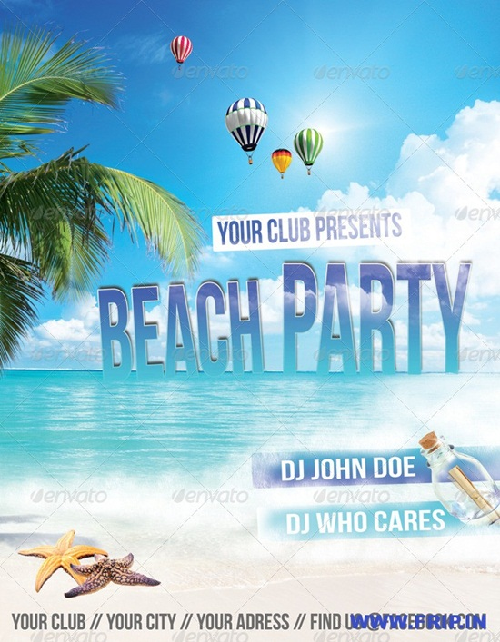 Free Premium Psd Beach Party Flyer Template