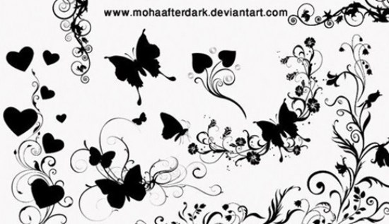 Ornamental Butterflies Photoshop Brushes