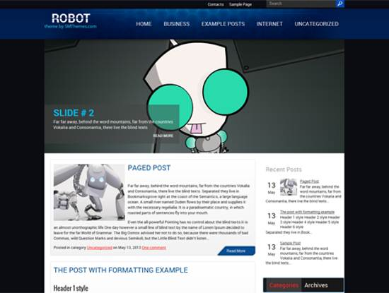 free robot wordpress theme