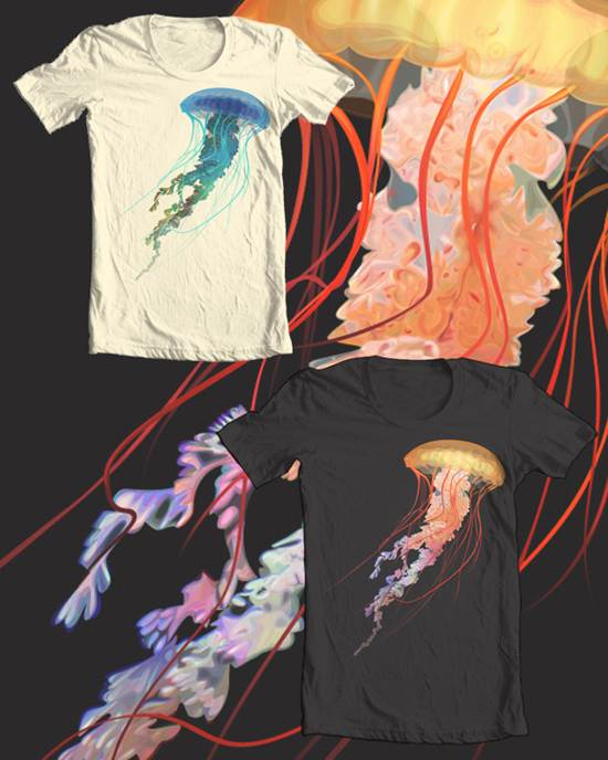 rainbow jellyfish t-shirt design