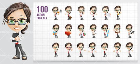 little business girl cartoon character for premium