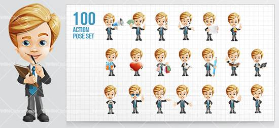 business kid cartoon character for premium