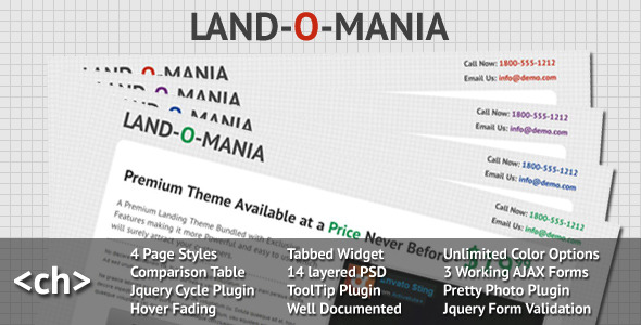 Land-o -Mania - a Complete Landing Page