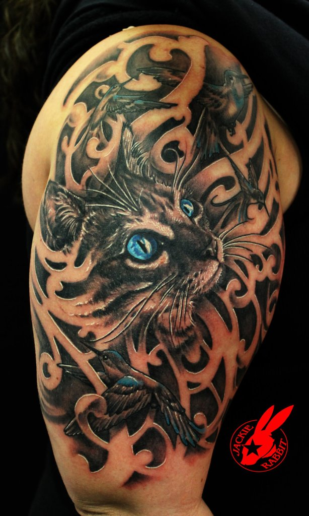 Blue Eye Cat and Bird Tattoo