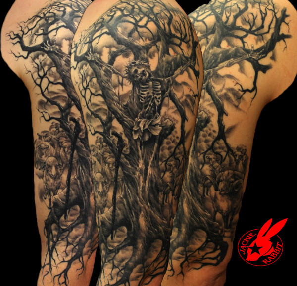 Jesus Tree Sleeve Tattoo