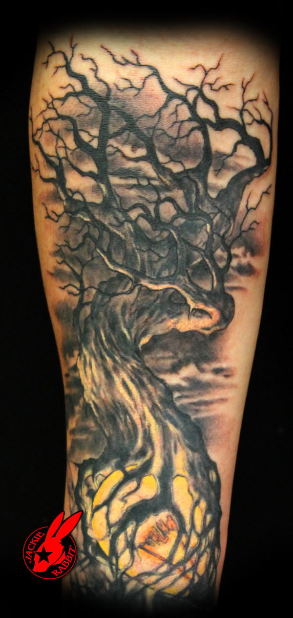 Light Dark Tree arm Tattoo
