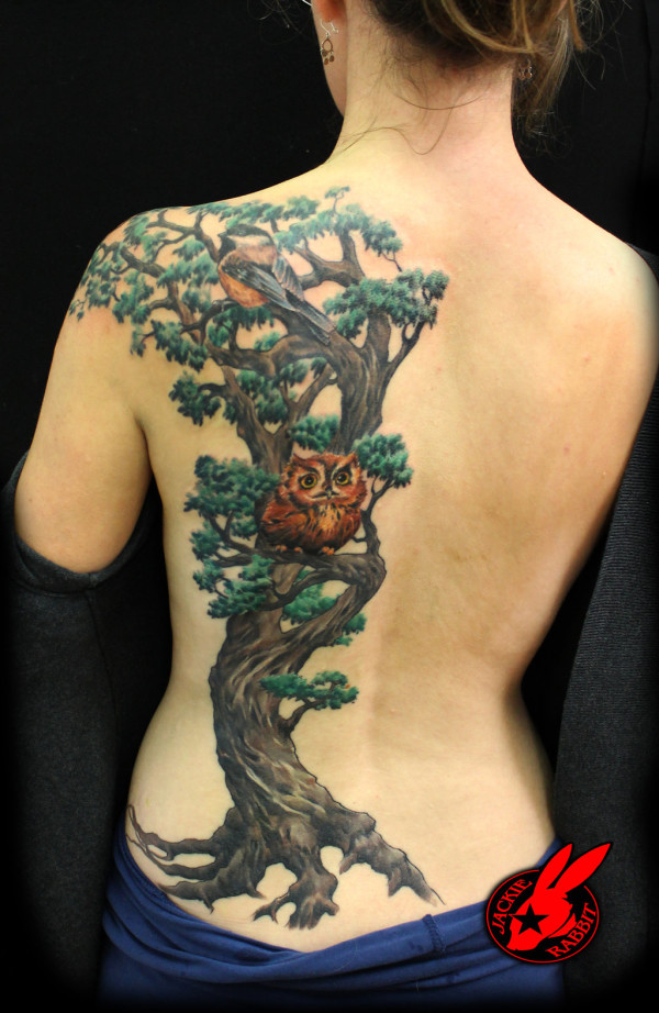 Tree Bird Owl Back Tattoo