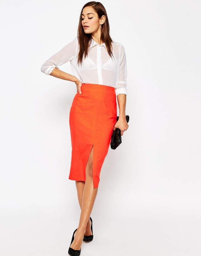 ASOS Linen Pencil Skirt with Pocket Detail