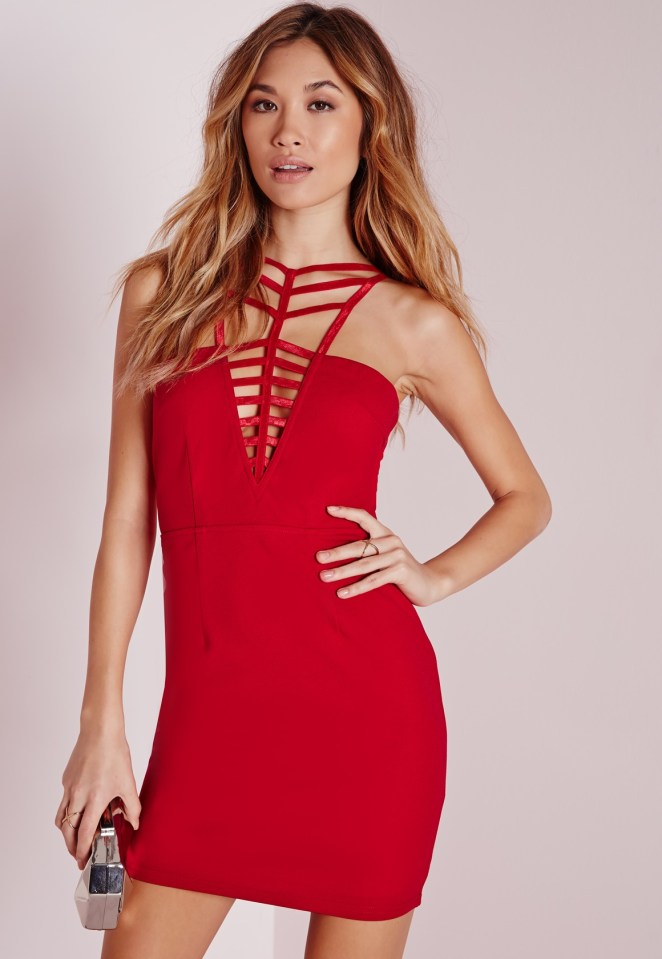 Crepe Neck Detail cut out Bodycon Dress Red