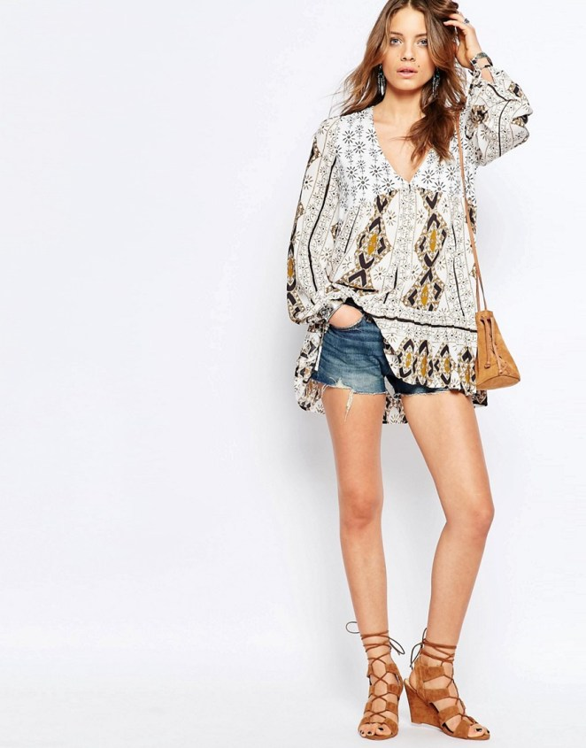 Free People Down By The Bay Tunic with denim shorts