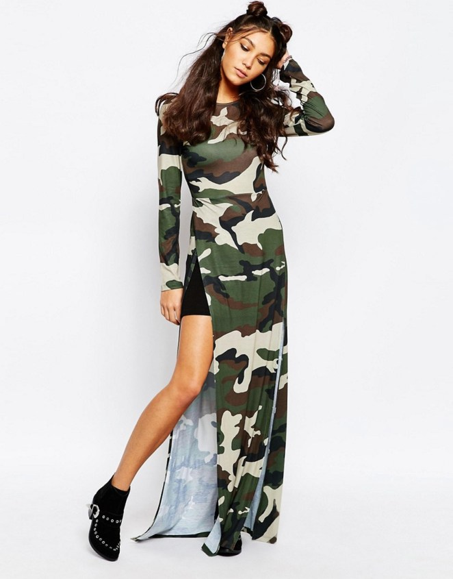 Jaded London Maxi Tunic Top With Front Splits In All Over Camo Print