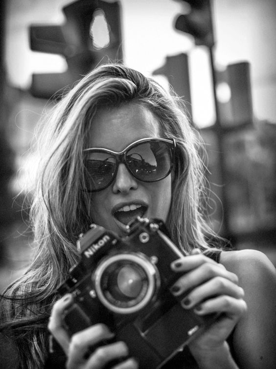 girl with camera photo black and white photography 38