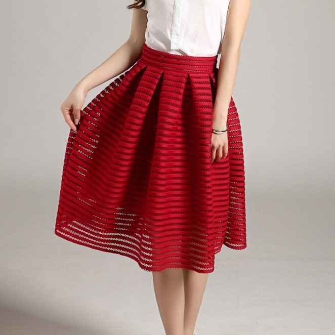 red-striped-hollow-out-fluffy-skirt