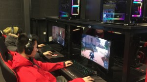 Gamers playing games at Lava Esports, Sheffield