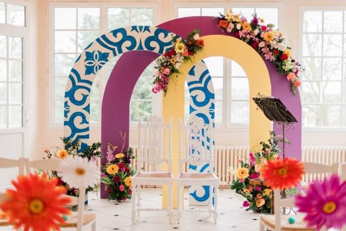 arche de mariage colorées