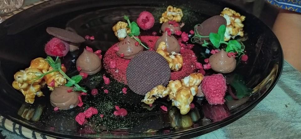 popcorn glassati e lampone cioccolato