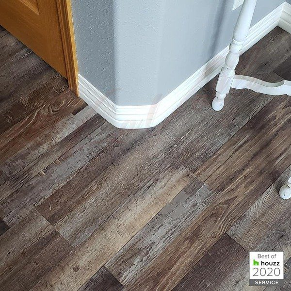 Waterproof Flooring Cali Vinyl Pro with Rubber Baseboard Tower City North Dakota