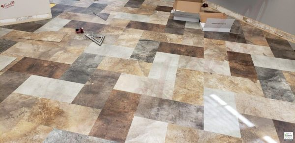 BeauFlor Pure LVT Installation in a wet area for a Valley City North Dakota Salon