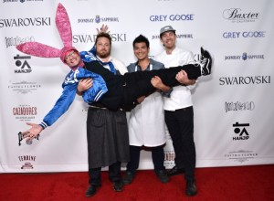 Aaron Axelrod with chefs Kris Morningstar and Michael Hung 2