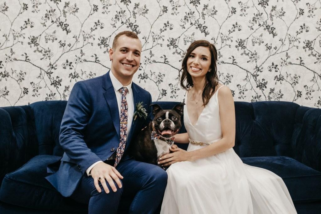 Groom, Bride and Dog at wedding