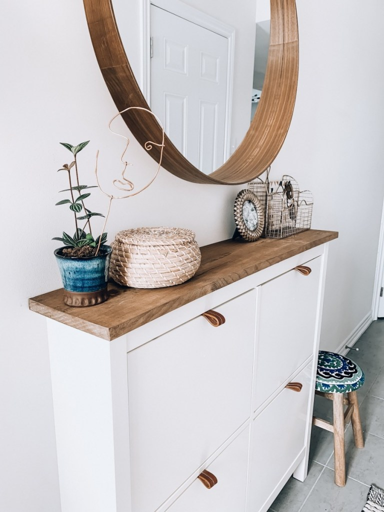 Ikea shoe cabinet hack for modern boho entryway