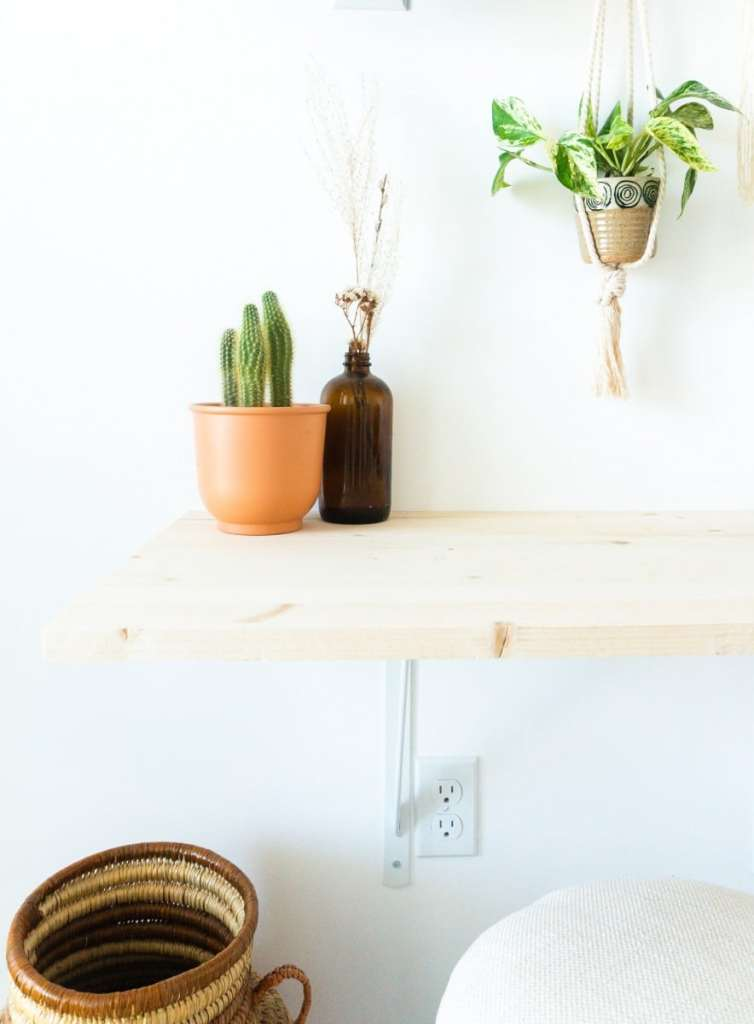 DIY desk vignette with cactus and vase