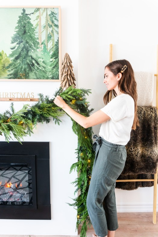 fireplace mantle garland christmas