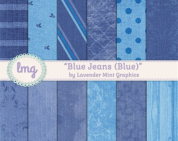 Blue Jean Digital Scrapbook Paper