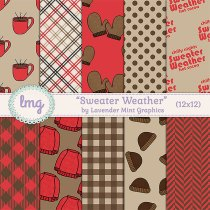 Sweater Weather Fall Autumn Digital Scrapbook Paper