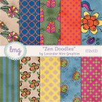 """Zen Doodles"" Digital Paper Pack"