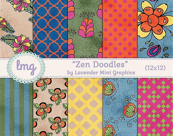 Zen Doodles Digital Scrapbook Paper