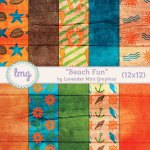 """Beach Fun"" Digital Scrapbook Papers"